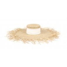 """Шляпа с широким полем """"лучиками"""", лента широкая (рафия)"""